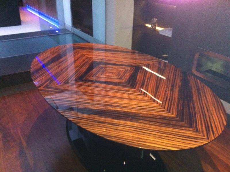 Maccassar Ebony Polished Gloss Finished Table top with Black Gloss Base by SJL