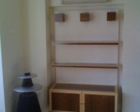 Small Walnut and Maple contrast Alcove unit by SJL
